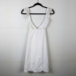 Wilfred White Eyelet Mini Cross Back Summer Dress
